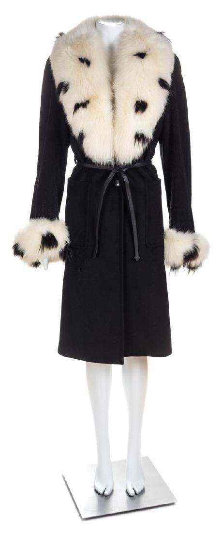 An Escada Black Wool Fox Trim Coat, Size 36.