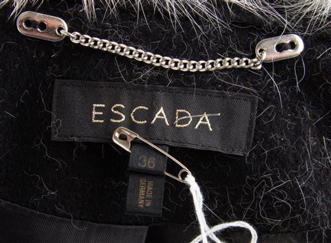 An Escada Black Wool Fox Trim Coat, Size 36. - 2