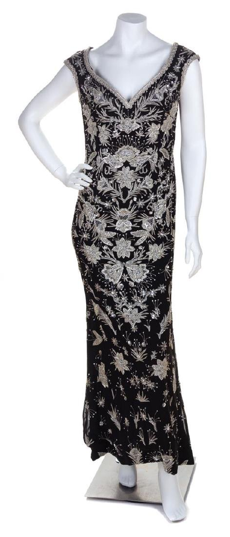 An Escada Black Silk Heavily Beaded and Embroidered