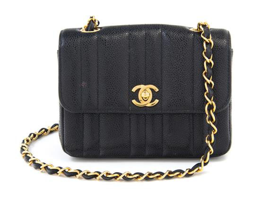 "A Chanel Black Caviar Quilted Small Flap Bag, 7"" x 5"" x"