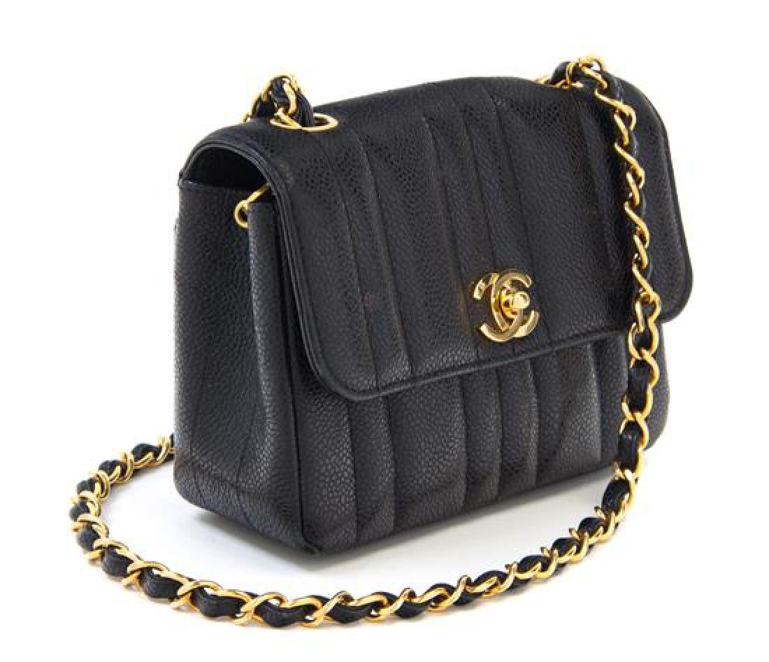 "A Chanel Black Caviar Quilted Small Flap Bag, 7"" x 5"" x - 2"
