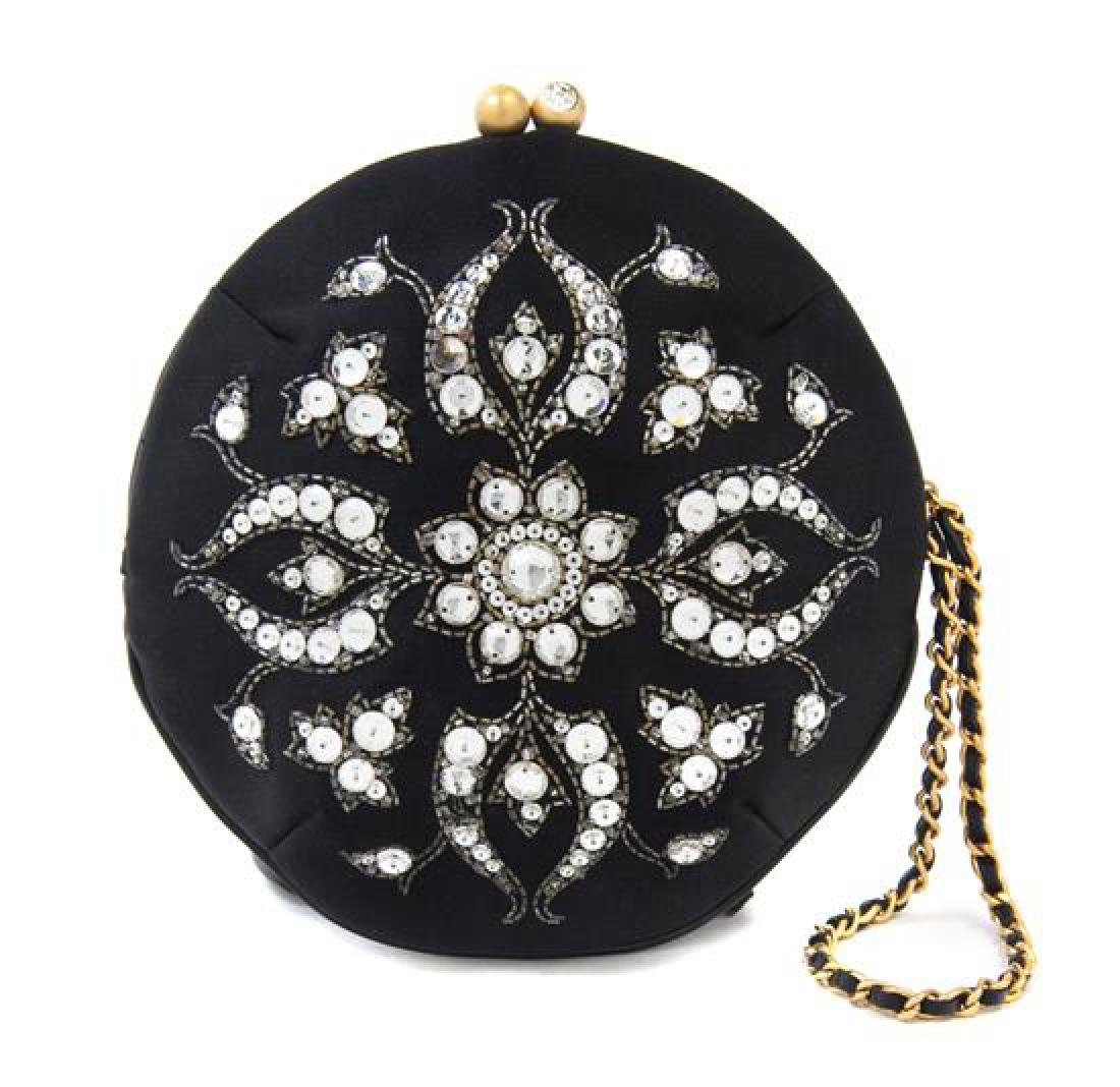 A Chanel Black Silk Embroidered Rhinestone Circular