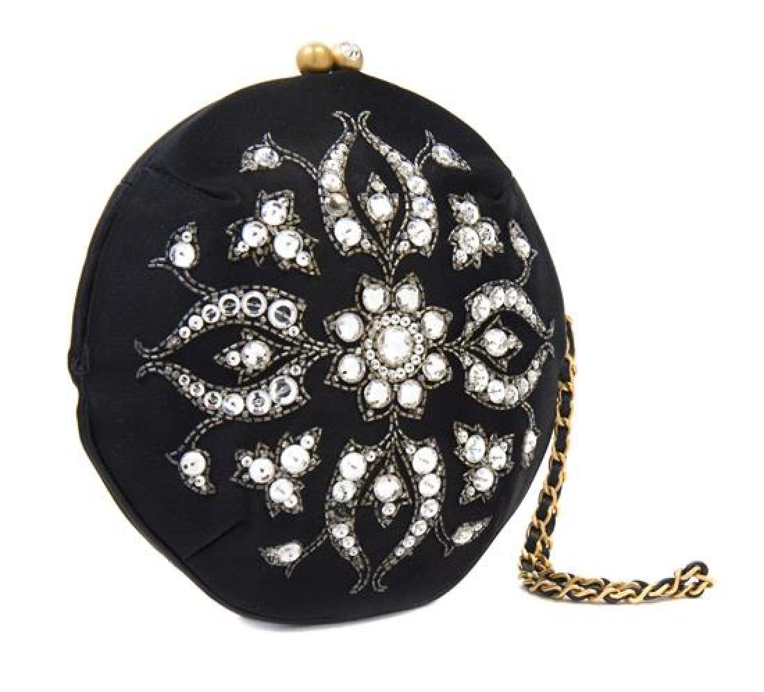 A Chanel Black Silk Embroidered Rhinestone Circular - 2