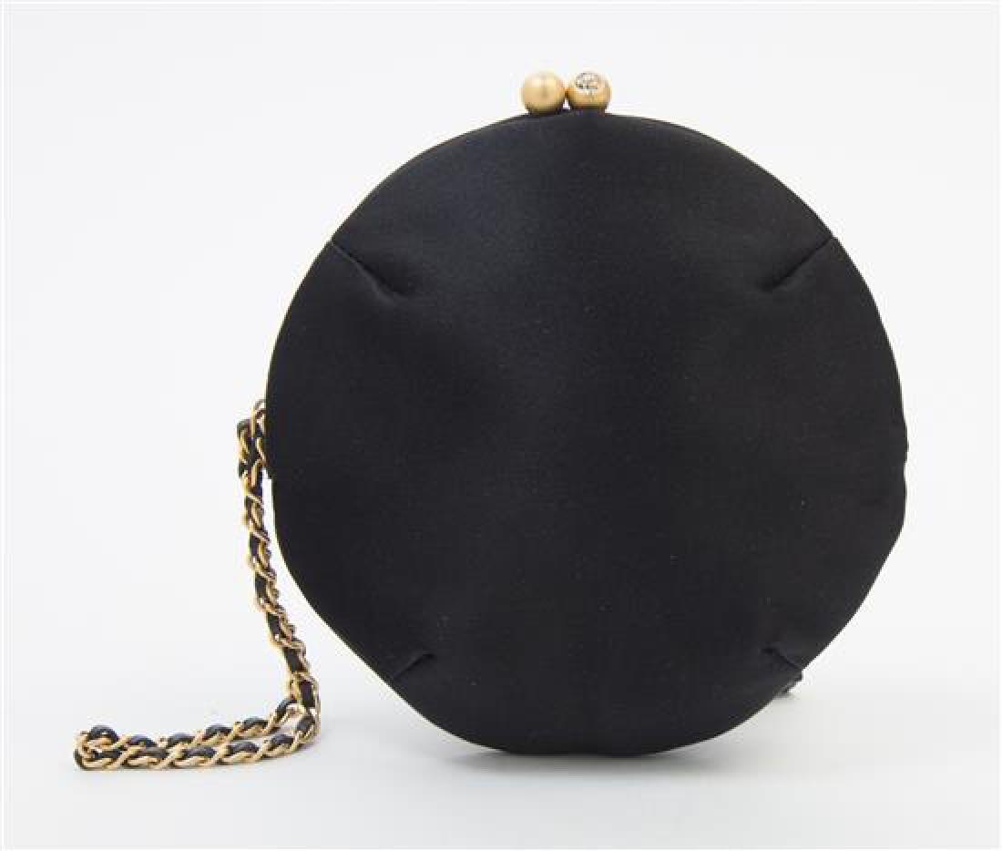 A Chanel Black Silk Embroidered Rhinestone Circular - 3