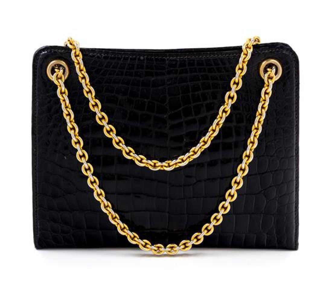 "A Gucci Black Crocodile Handbag, 9.5"" x 7.5"" x 2.5"";"