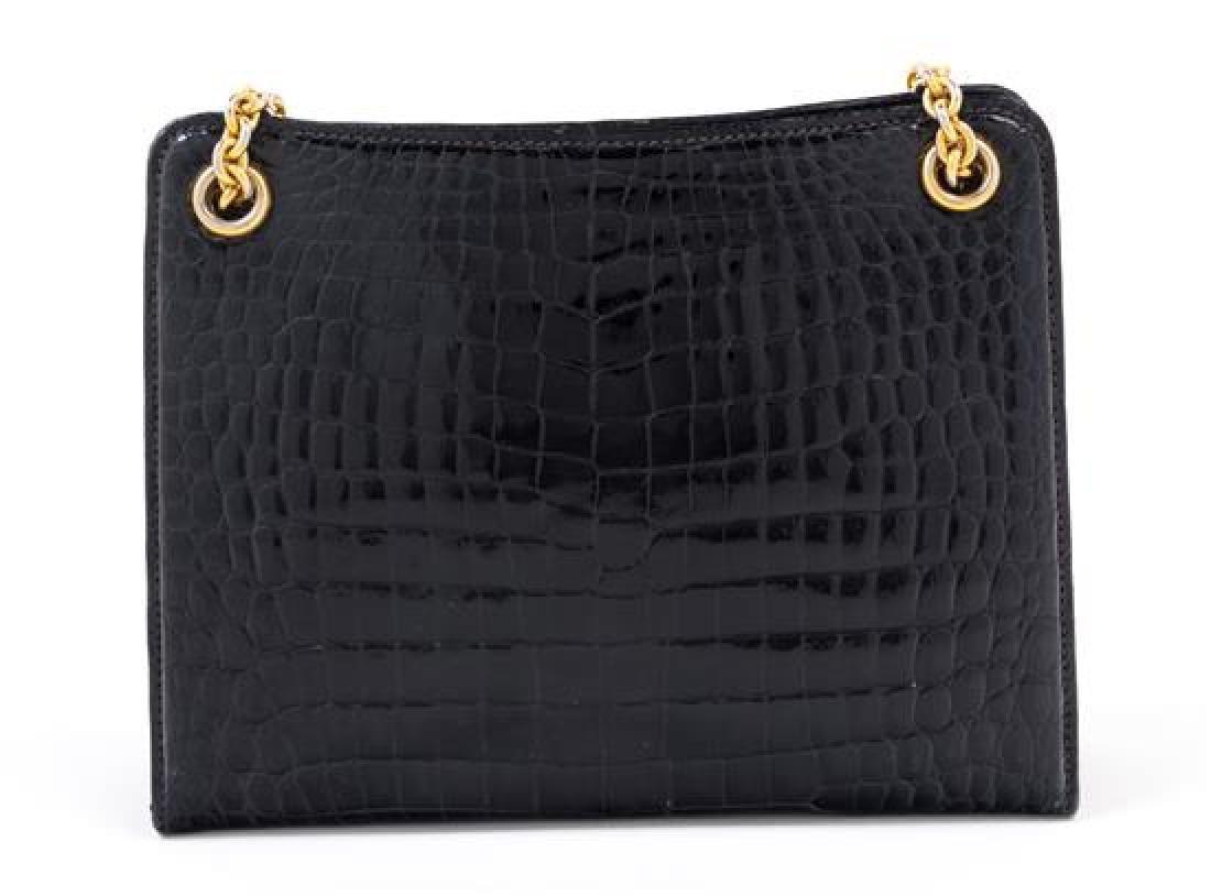 "A Gucci Black Crocodile Handbag, 9.5"" x 7.5"" x 2.5""; - 3"