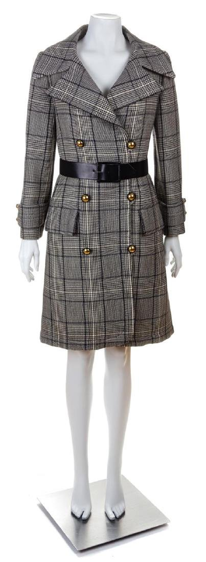 A Jeanne Lanvin Black and White Wool Plaid Double
