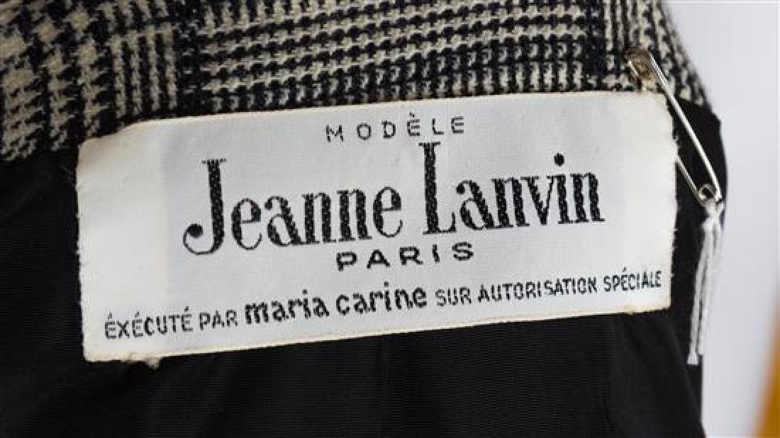 A Jeanne Lanvin Black and White Wool Plaid Double - 3