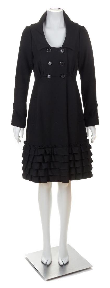 A Louis Vuitton Black Wool Double Breasted Coat, Size