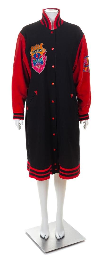 A Kansai Black Wool Baseball Style Coat, No size.