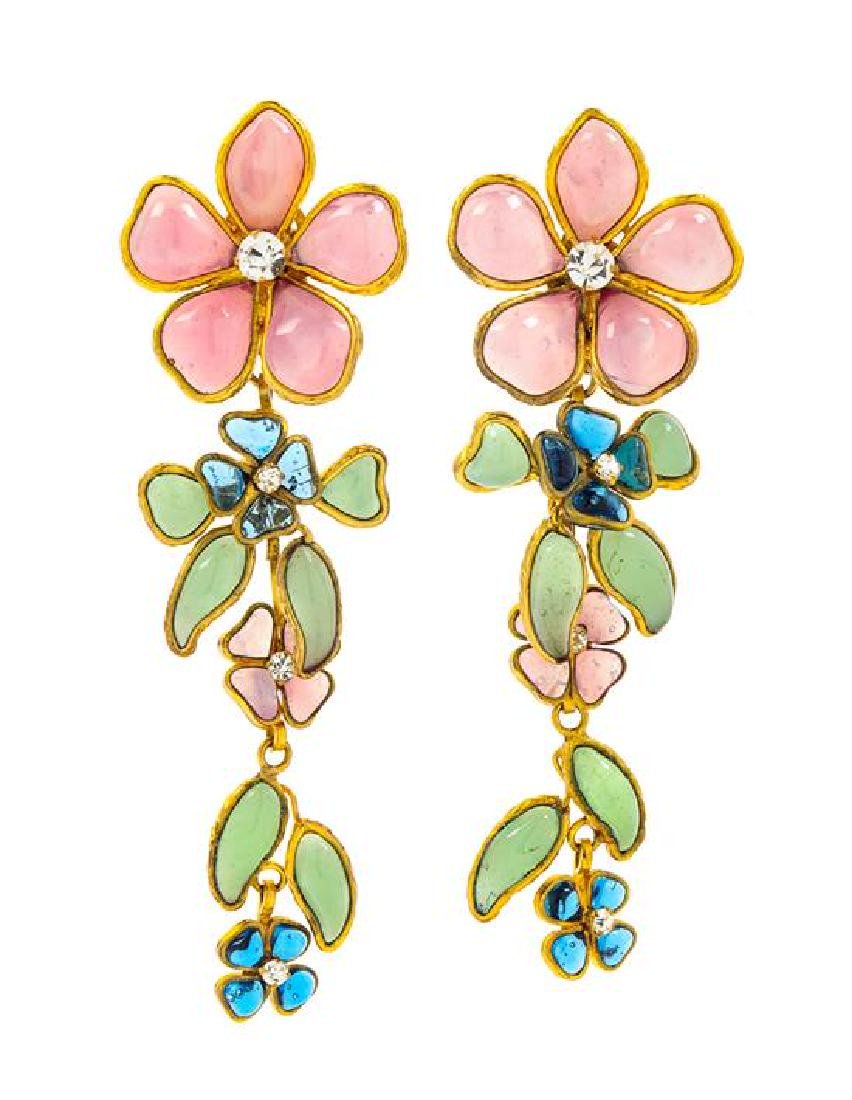 """A Pair of Chanel Floral Gripoix Earclips, Flower: 1.25"""""""