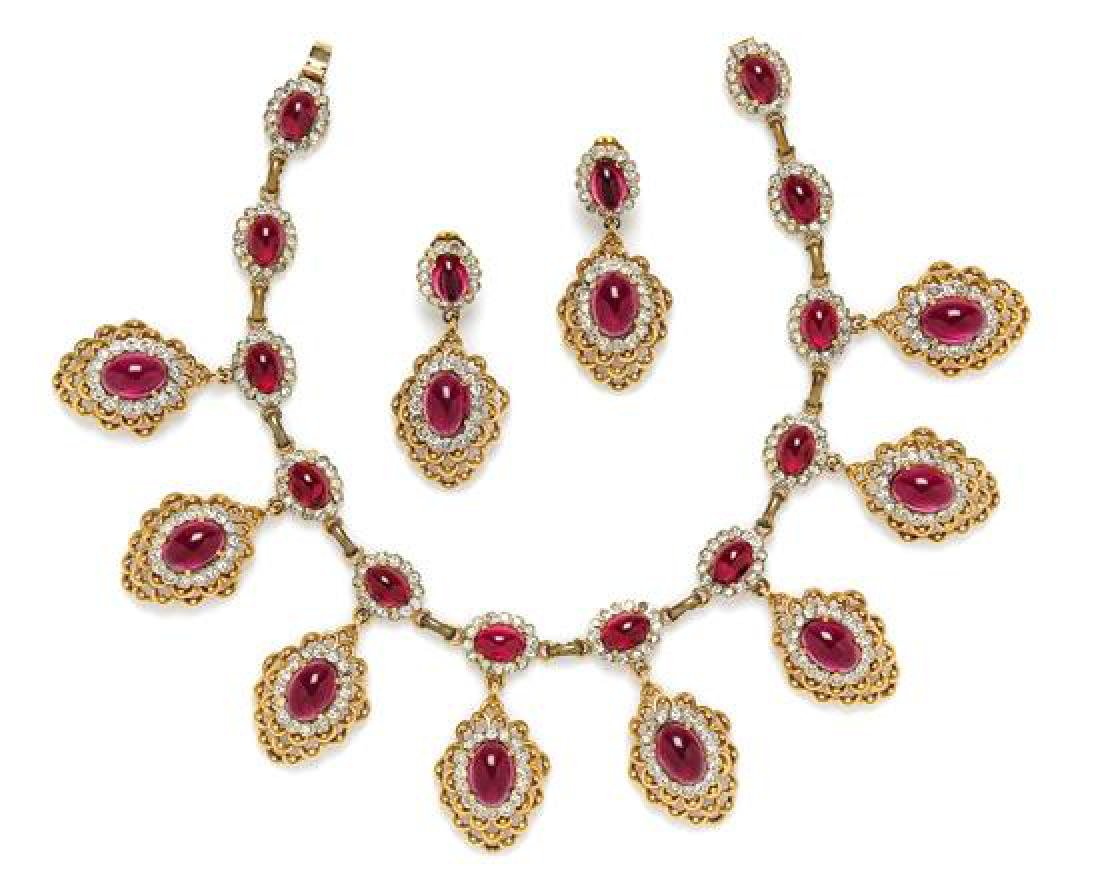 * A Kenneth Jay Lane Faux Ruby Demi Parure, Necklace: