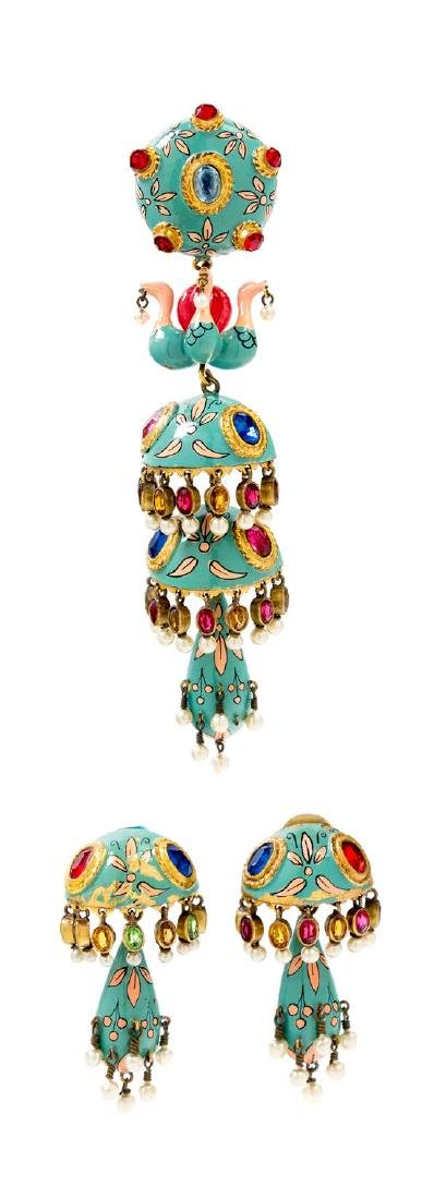 """* A French Painted Brooch and Earclips, Brooch: 5""""x"""
