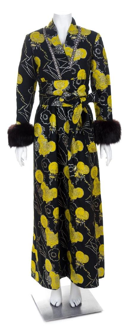 An Oscar de la Renta Forest Green and Yellow Wool Gown,