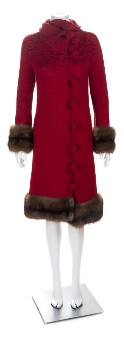 An Oscar de la Renta Red Knit Coat with Sable Trim,