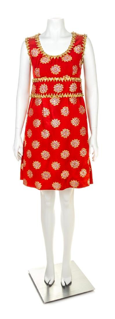 An Oscar de la Renta Red Silk Embellished Dress, No