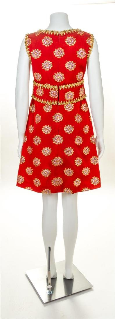 An Oscar de la Renta Red Silk Embellished Dress, No - 2