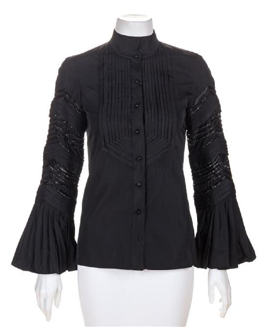 A Roberto Cavalli Black Pleated Blouse, Size 38.