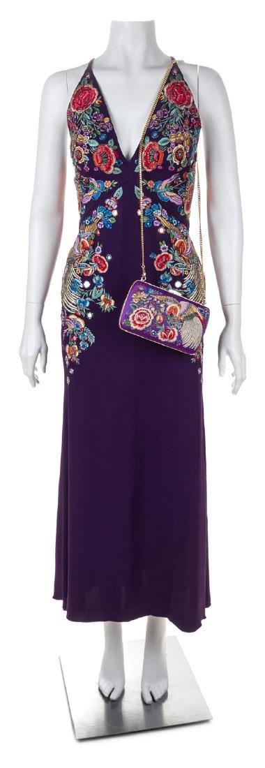 A Roberto Cavalli Purple Floral Embellished Halter