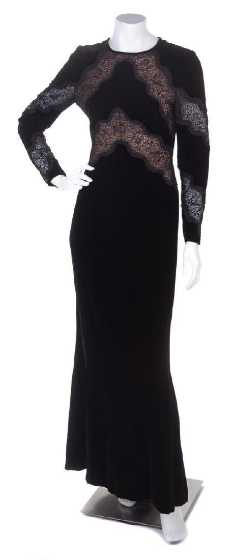 A Valentino Black Velvet Gown, Size 42.