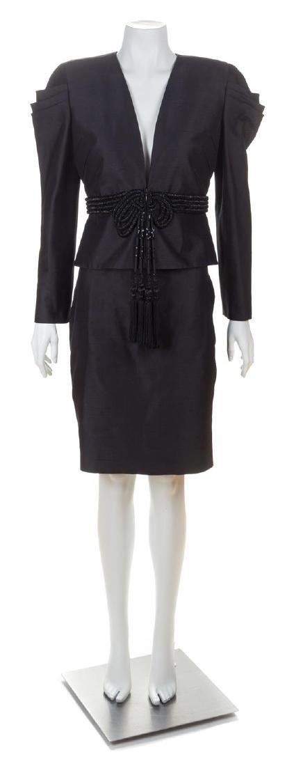 A Valentino Black Raw Silk Evening Skirt Suit, Skirt