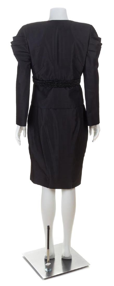 A Valentino Black Raw Silk Evening Skirt Suit, Skirt - 3