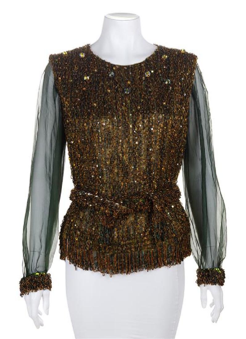 * An Yves Saint Laurent Sequin Evening Blouse, No size.