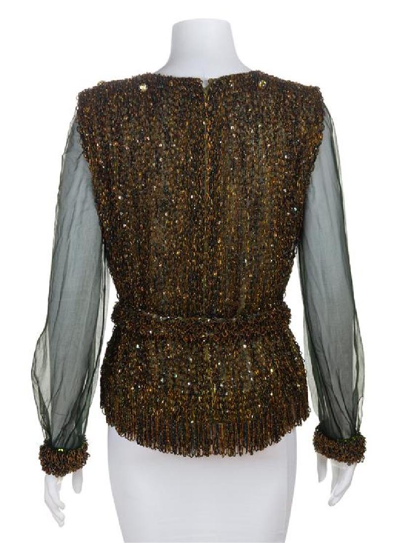 * An Yves Saint Laurent Sequin Evening Blouse, No size. - 2