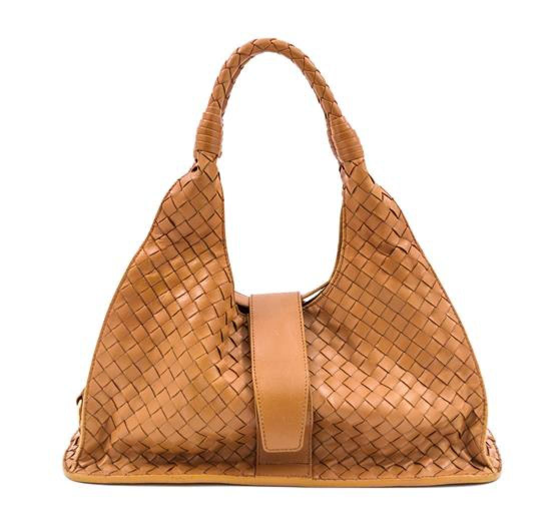 A Bottega Veneta Tan Intrecciato Leather Shoulder Bag,