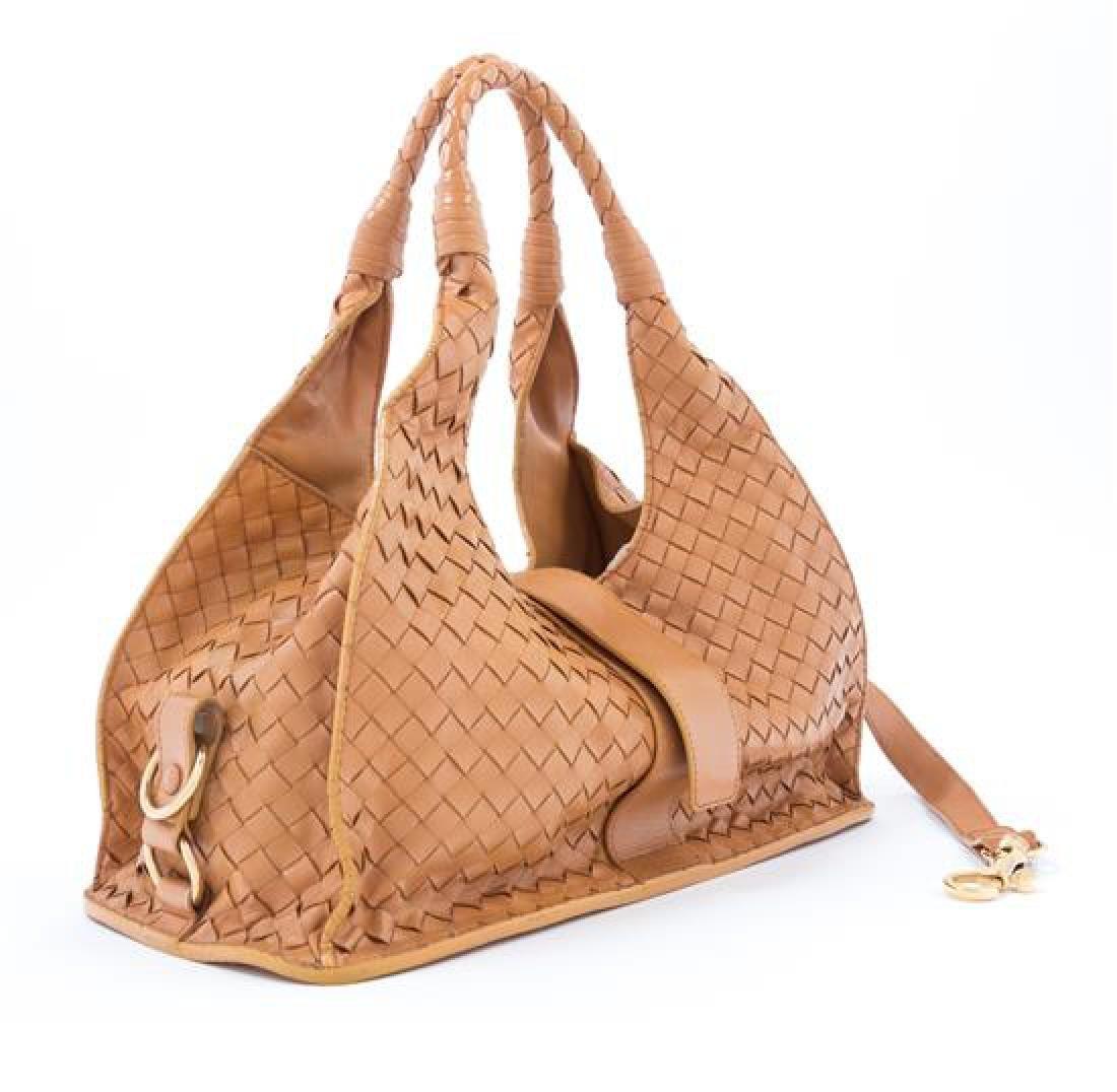 A Bottega Veneta Tan Intrecciato Leather Shoulder Bag, - 2