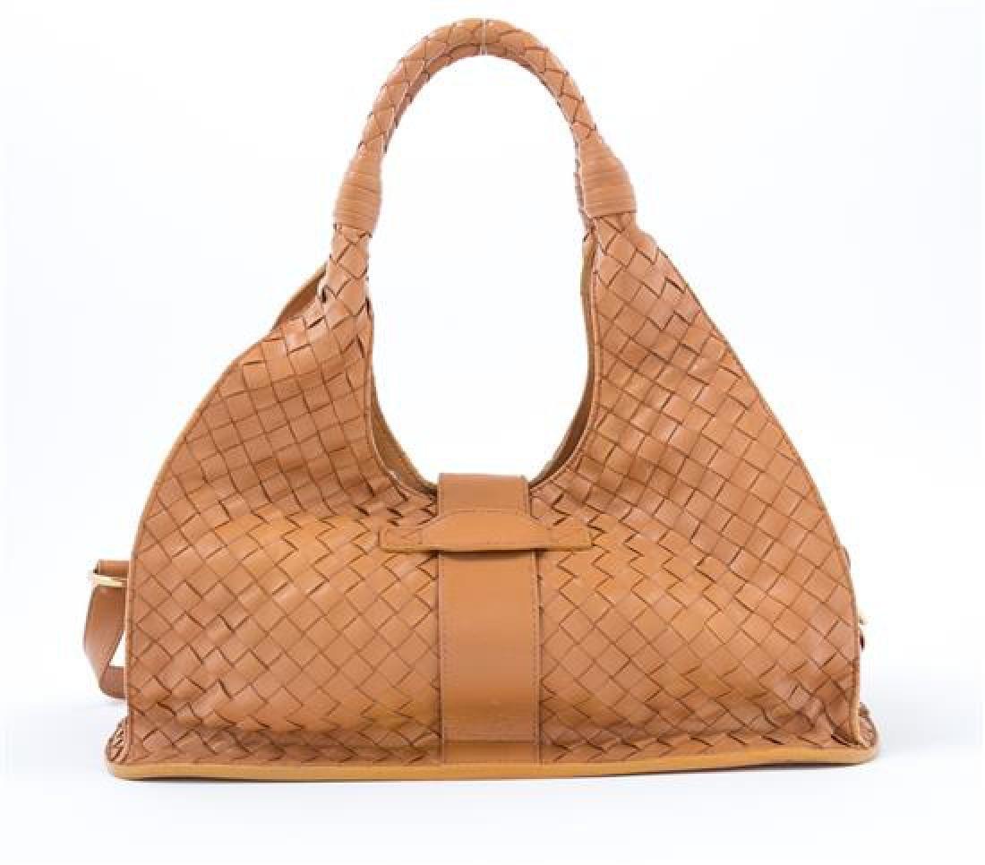 A Bottega Veneta Tan Intrecciato Leather Shoulder Bag, - 3