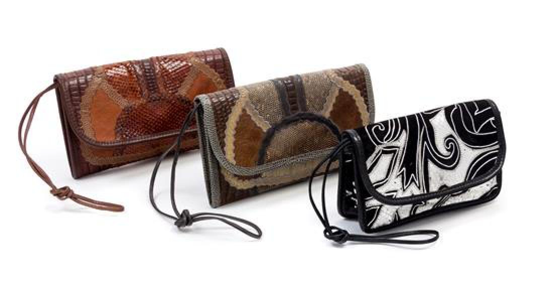 A Grouping of Three Carlos Falchi Leather and Snakeskin