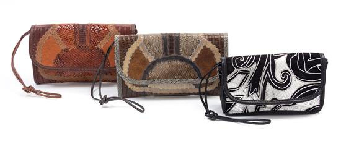 A Grouping of Three Carlos Falchi Leather and Snakeskin - 2