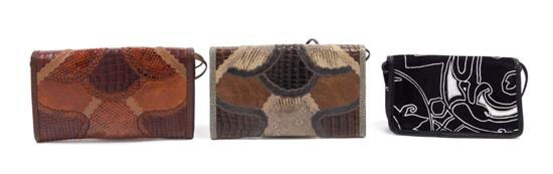 A Grouping of Three Carlos Falchi Leather and Snakeskin - 3