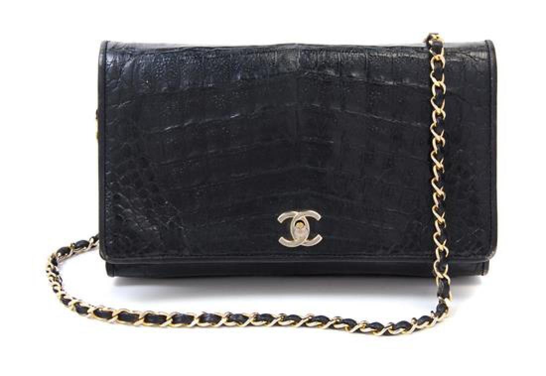 """A Chanel Black Crocodile Flap Bag, 10: x 6.6"""" x 2"""";"""