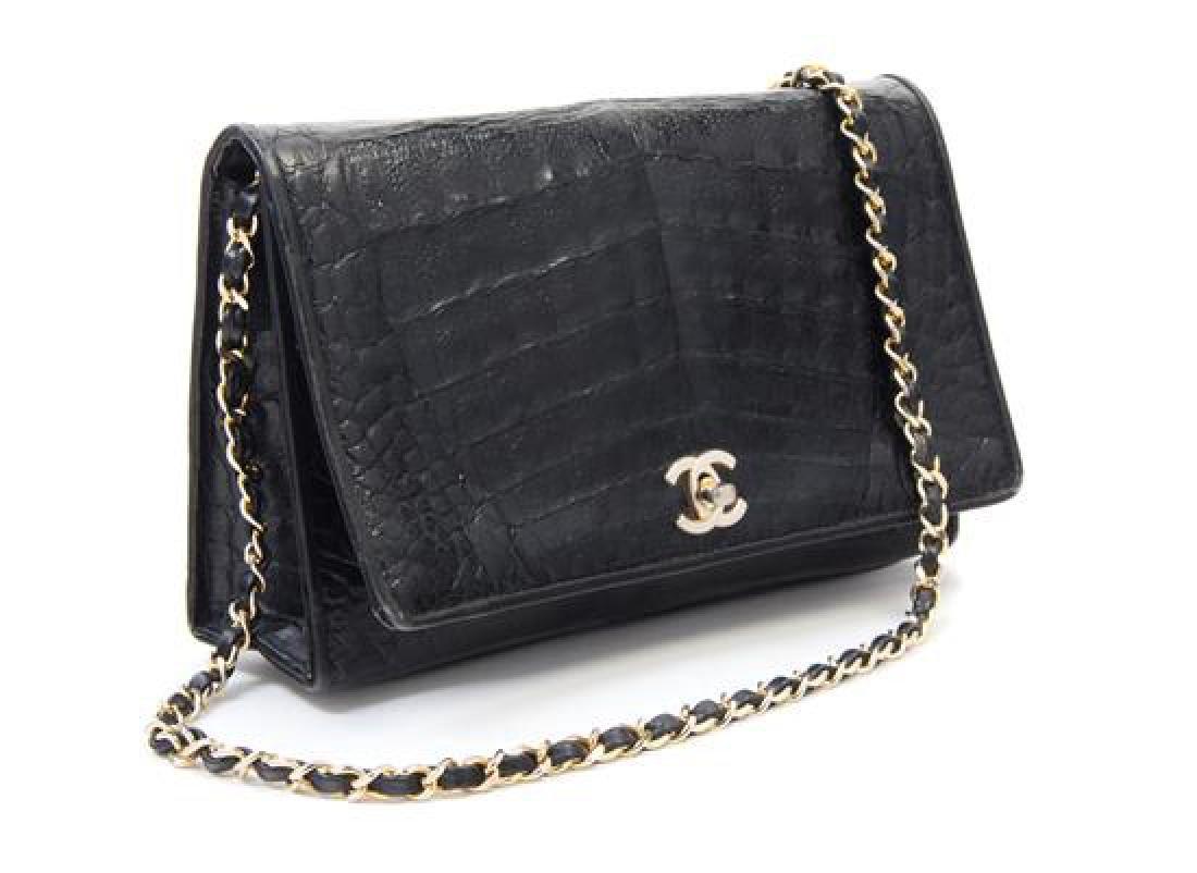 """A Chanel Black Crocodile Flap Bag, 10: x 6.6"""" x 2""""; - 2"""