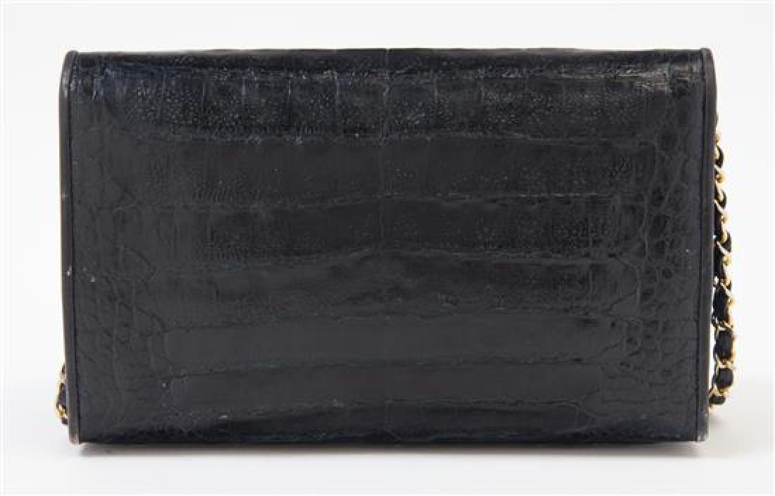 """A Chanel Black Crocodile Flap Bag, 10: x 6.6"""" x 2""""; - 3"""