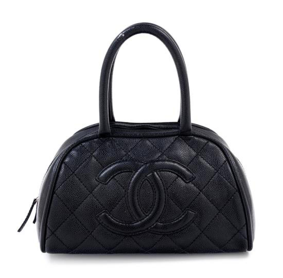 "A Chanel Black Caviar Quilted Bowler Bag, 10.5"" x 6.5"""