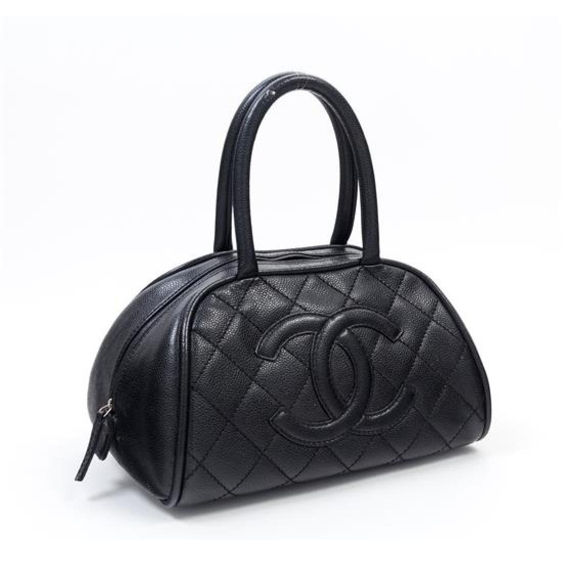 "A Chanel Black Caviar Quilted Bowler Bag, 10.5"" x 6.5"" - 2"