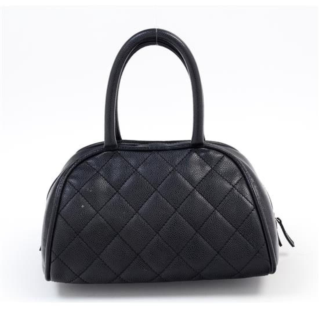 "A Chanel Black Caviar Quilted Bowler Bag, 10.5"" x 6.5"" - 3"