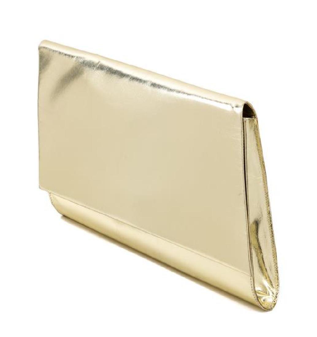 "A Charles Jourdan Gold Leather Geometric Handbag, 9"" x - 2"