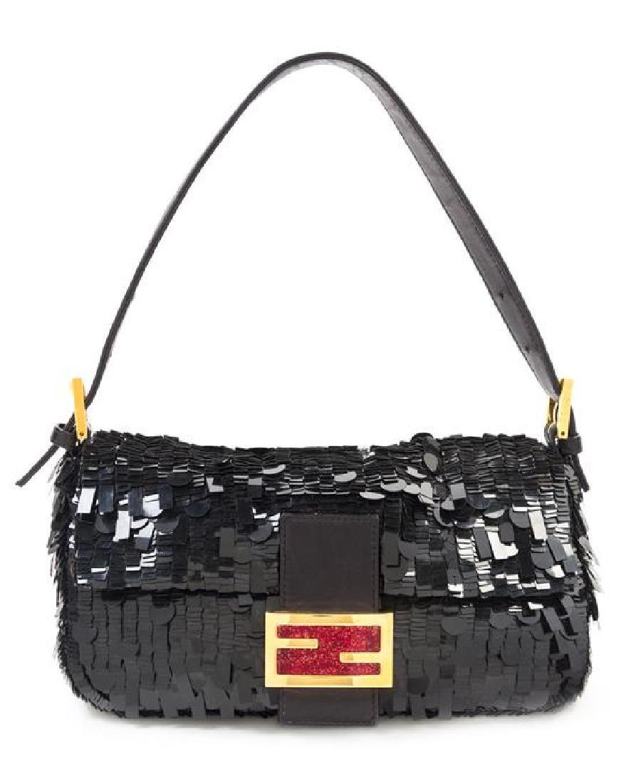 "A Fendi Black Sequin Baguette Shoulder Bag, 10"" x 6"" x"