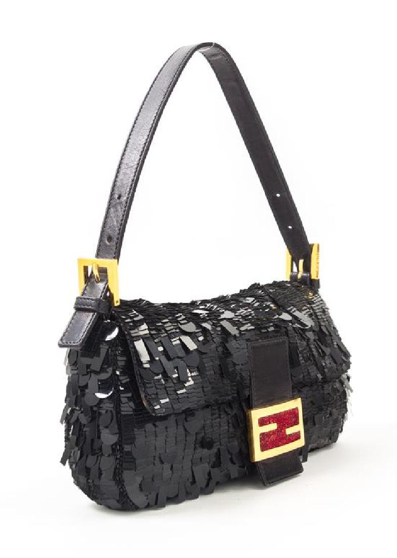 "A Fendi Black Sequin Baguette Shoulder Bag, 10"" x 6"" x - 2"