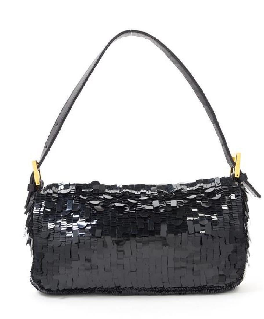 "A Fendi Black Sequin Baguette Shoulder Bag, 10"" x 6"" x - 3"