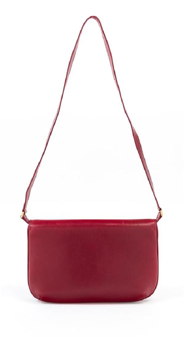 "A Gucci Red Leather Flap Handbag, 10.5: x 7"" x 1""; - 3"