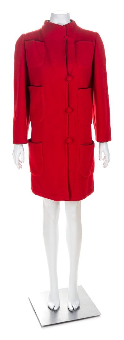 An Arnold Scaasi Red Wool Coat, No size.