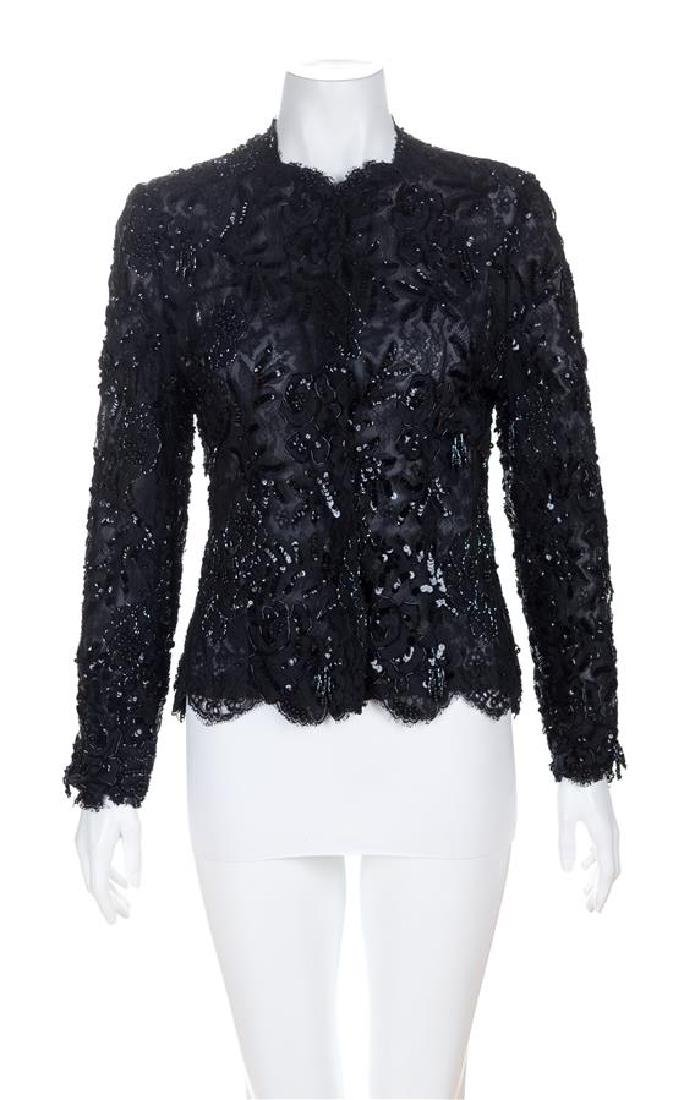 An Arnold Scaasi Black Lace and Beaded Evening Jacket,