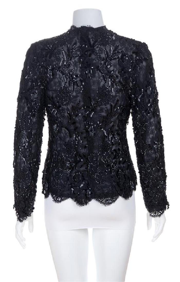 An Arnold Scaasi Black Lace and Beaded Evening Jacket, - 2