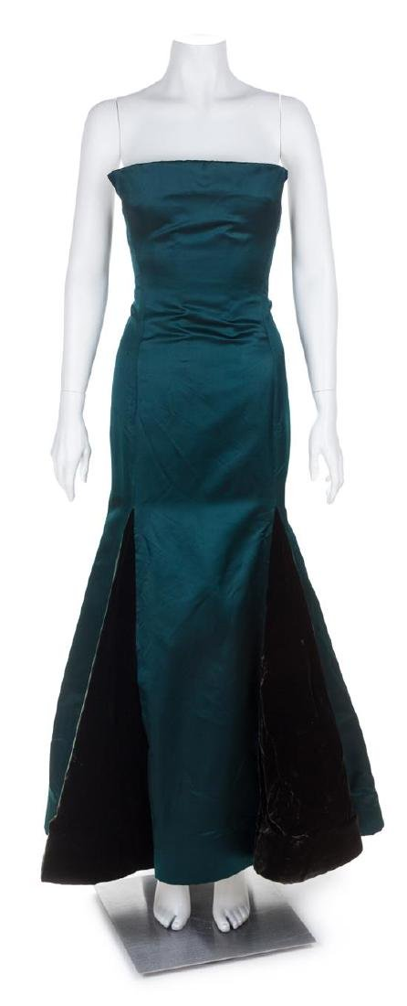 An Arnold Scaasi Green Silk Strapless Gown, No size.