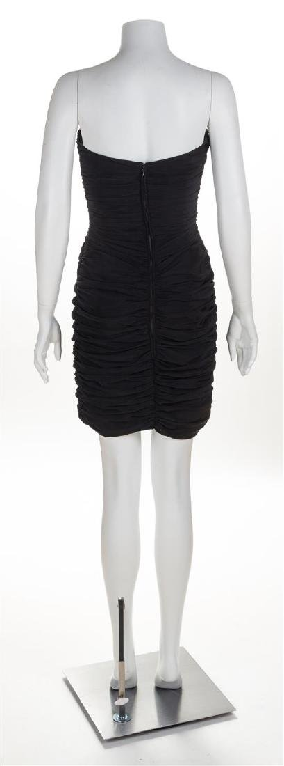 A Black Silk Strapless Ruched Cocktail Dress, No size. - 2
